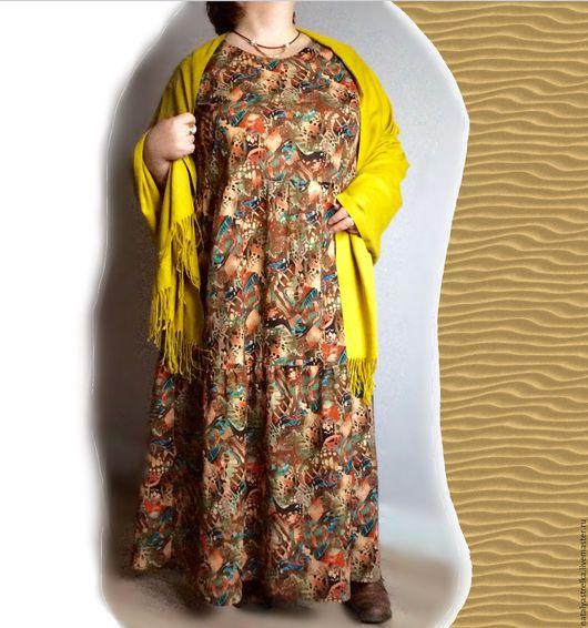 """Большие размеры ручной работы. Ярмарка Мастеров - ручная работа. Купить Хлопковое платье. """"Сафари"""". Art. 1046. Handmade. Коричневый"""
