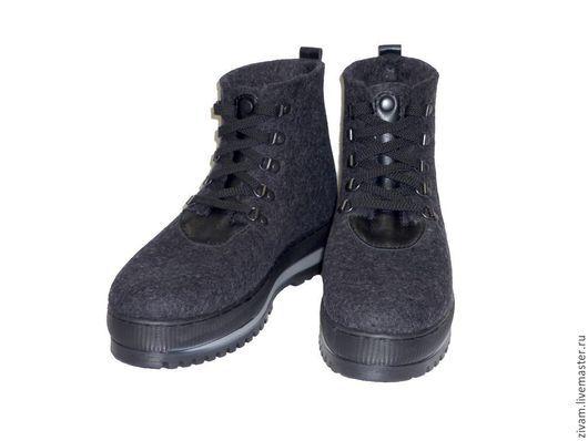 """Обувь ручной работы. Ярмарка Мастеров - ручная работа. Купить Ботинки мужские """"Серый меланж"""". Handmade. Темно-серый, обувь"""