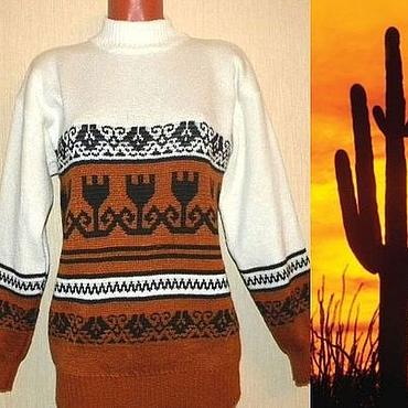 Одежда ручной работы. Ярмарка Мастеров - ручная работа Вязаный свитер с орнаментом в мексиканском стиле. Handmade.