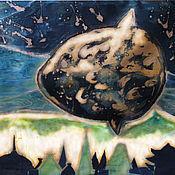 """Картины и панно ручной работы. Ярмарка Мастеров - ручная работа батик панно """"Рыба-луна"""". Handmade."""