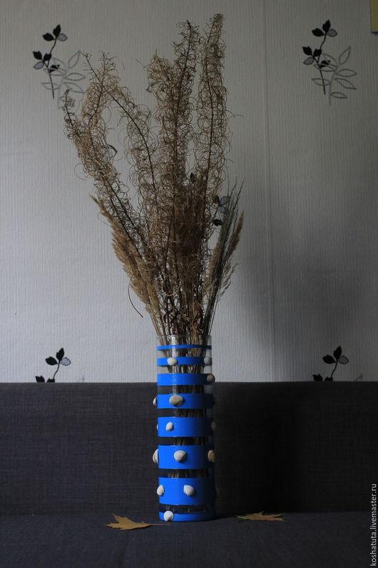 Вазы ручной работы. Ярмарка Мастеров - ручная работа. Купить Ваза декорированная ракушками. Handmade. Голубой, ваза для сухоцветов, стекло