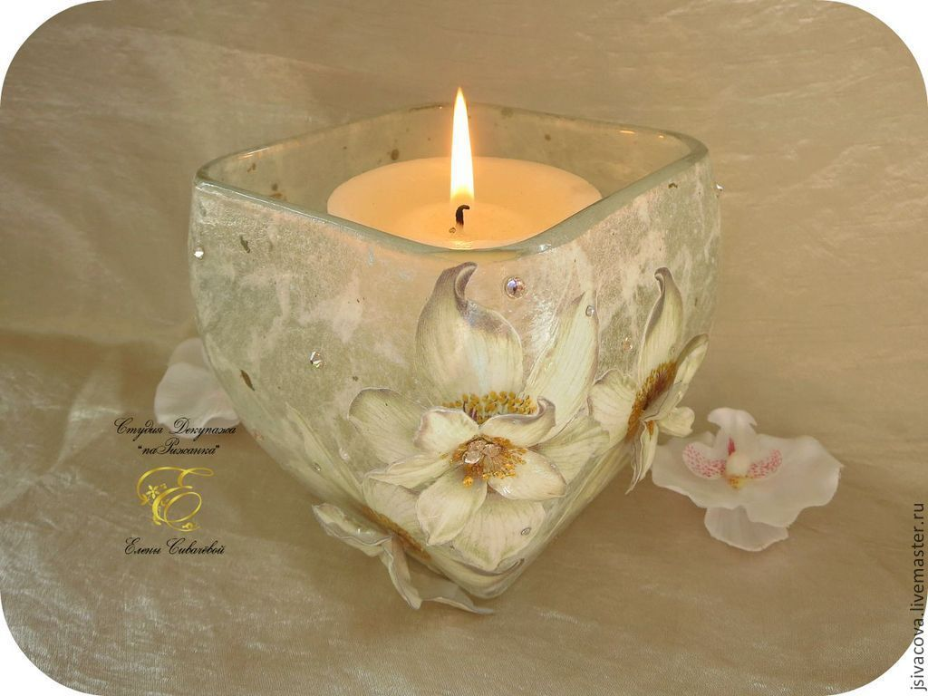 Candlestick,White flowers, candle holder glass, Candlesticks, Riga,  Фото №1