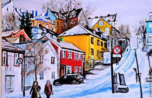 Город ручной работы. Ярмарка Мастеров - ручная работа. Купить картина  маслом Норвегия. Начало зимы. Handmade. Зима, картина