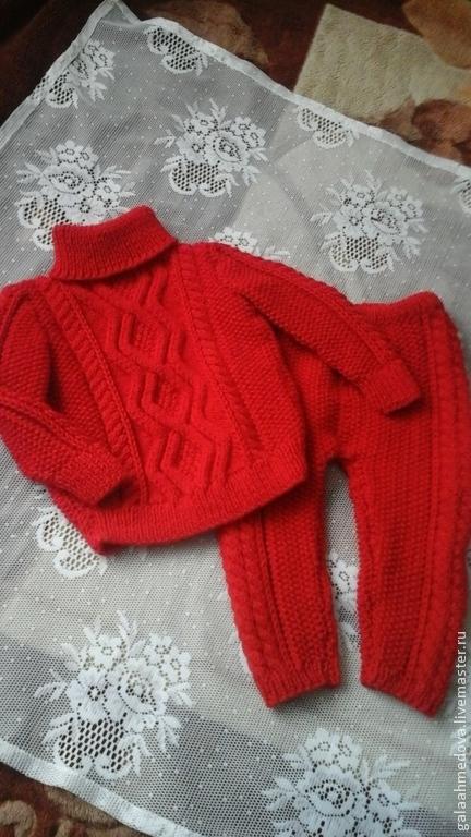 вязаный комплект,вязаный костюм,купить костюмчик,детский костюмчик, свитер и штанишки,девочке, на годик, подарок,детям, костюм ручной работы, теплый костюм, свитерок,для девочки, красный костюм, на ве
