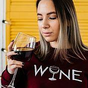 Свитшоты ручной работы. Ярмарка Мастеров - ручная работа Свитшот с вышивкой Wine бордовый (вино). Handmade.