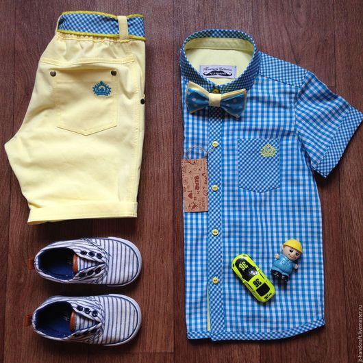 """Одежда для девочек, ручной работы. Ярмарка Мастеров - ручная работа. Купить рубашка для мальчика """"М&М"""". Handmade. Бирюзовый, весна 2015"""