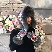 Аксессуары ручной работы. Ярмарка Мастеров - ручная работа Подарок девушке комплект ушанка с варежками. Handmade.