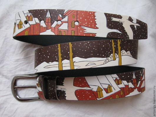 """Пояса, ремни ручной работы. Ярмарка Мастеров - ручная работа. Купить ремень кожаный """" Гуси Снежной королевы"""". Handmade."""