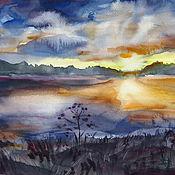 Картины и панно ручной работы. Ярмарка Мастеров - ручная работа Акварель Закат на озере. Handmade.