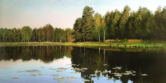 Пейзаж ручной работы. Ярмарка Мастеров - ручная работа. Купить Лесное озеро. Handmade. Лесной пейзаж, лес, подарок