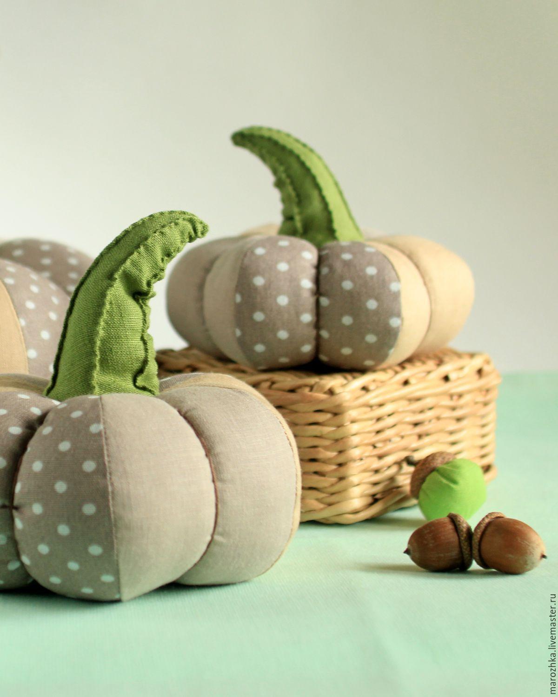 Pumpkin composition, Interior pumpkins. Textile pumpkins, autumn home decor . Handmade. Beige, gray, olive. Provence, retro style,country style