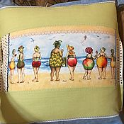 Для дома и интерьера ручной работы. Ярмарка Мастеров - ручная работа Подушка `Пляжный сезон`. Handmade.