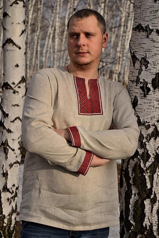 Льняная сорочка РОДОВИК (с длинным рукавом)