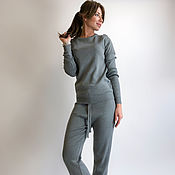 Одежда handmade. Livemaster - original item Grey knitted suit with trousers. Handmade.