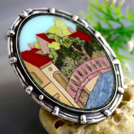 """Кольца ручной работы. Ярмарка Мастеров - ручная работа. Купить Кольцо """"Брюгге"""" - флорентийская мозаика, серебро. Handmade. брюгге"""