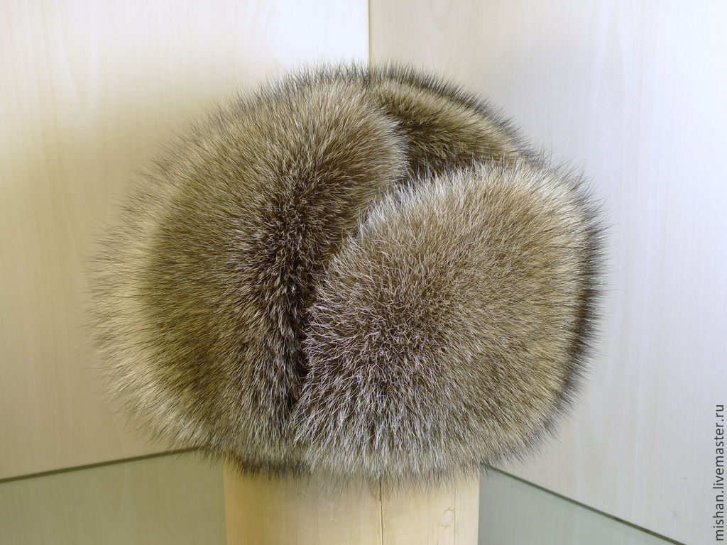 Ushanka raccoon fur and natures of the skin. Winter men's hats, Hat with ear flaps, Ekaterinburg,  Фото №1
