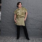 Одежда handmade. Livemaster - original item Tunic wide short hooded camouflage. Art. 1570. Handmade.