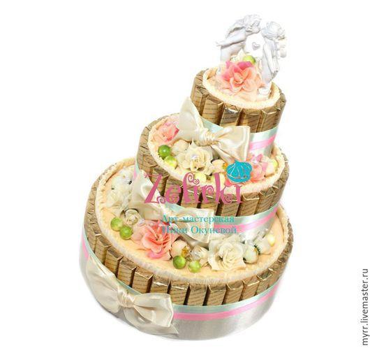 Подарки для влюбленных ручной работы. Ярмарка Мастеров - ручная работа. Купить Оригинальный подарок на свадьбу день рождения Торт из  конфет шоколада. Handmade.