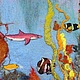 """Пейзаж ручной работы. Картина из шерсти """"Тайна Карибского моря"""". Макарова Оксана (sanzharka). Интернет-магазин Ярмарка Мастеров. Корабль"""