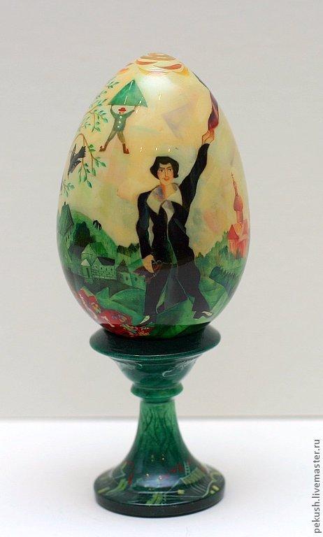 Яйца ручной работы. Ярмарка Мастеров - ручная работа. Купить Яйцо  (по мотивам картин  Марка Шагала). Handmade. Яйцо