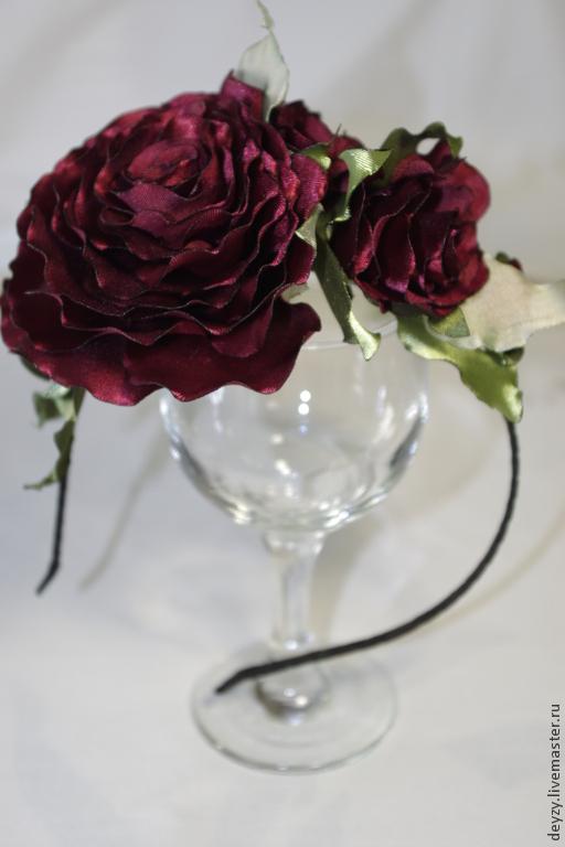 """Диадемы, обручи ручной работы. Ярмарка Мастеров - ручная работа. Купить Обруч """"Танго"""". Handmade. Бордовый, атласные цветы"""