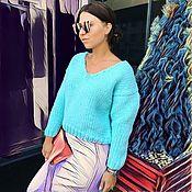 Одежда ручной работы. Ярмарка Мастеров - ручная работа Бирюзовый короткий женский свитер. Handmade.