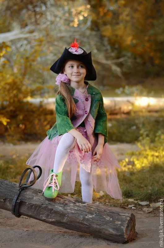 Одежда для девочек, ручной работы. Ярмарка Мастеров - ручная работа. Купить Валяный кардиган для девочек Эльфийская сказка. Handmade. Разноцветный