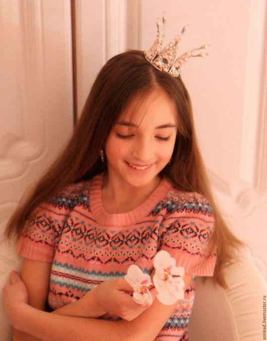 """Детская бижутерия ручной работы. Ярмарка Мастеров - ручная работа. Купить Корона """"Принцесса Роузи"""". Handmade. Корона, украшение для невесты"""
