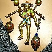 """Колье ручной работы. Ярмарка Мастеров - ручная работа Комплект """"ВОДОНОС"""" - антикварная брошь, жемчуг, позолота. Handmade."""
