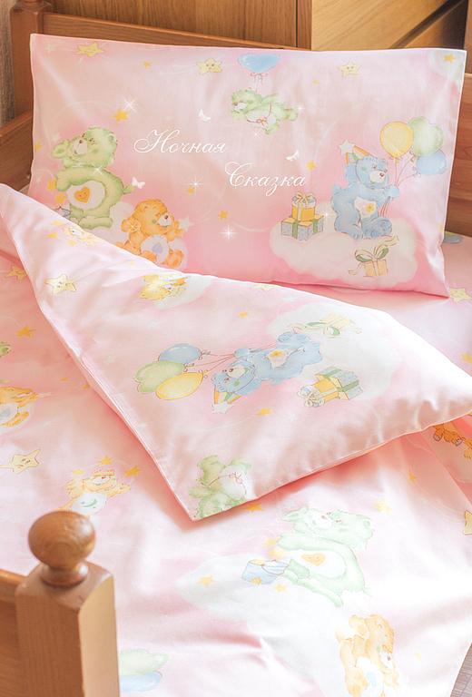 """Детская ручной работы. Ярмарка Мастеров - ручная работа. Купить Комплект в кроватку детское постельное белье """"На облачке"""" розовый. Handmade."""