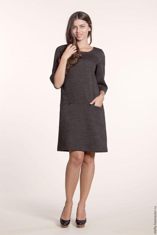 стильное платье из шерсти А-образного силуэта на подкладке из 100% вискозы. Платье до колен, офисное или на каждый день, платье женское до 54 размера, платье теплое с карманами. Модное и стильное