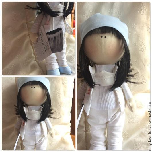 Куклы тыквоголовки ручной работы. Ярмарка Мастеров - ручная работа. Купить Интерьерная текстильная кукла Стоматолог. Handmade. Белый, стоматолог