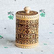 """Русский стиль handmade. Livemaster - original item Берестяной туесок для кофе """"Цветы"""" 8х12. Банка для кофе из бересты. Handmade."""
