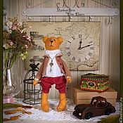 """Куклы и игрушки ручной работы. Ярмарка Мастеров - ручная работа Набор """" Старинные машины"""": тильда мишка с машиной и часы. Handmade."""