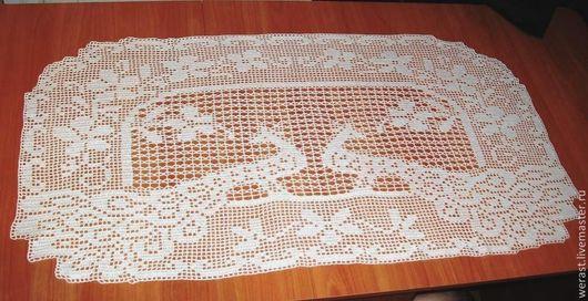 """Текстиль, ковры ручной работы. Ярмарка Мастеров - ручная работа. Купить Скатерть """"Павлины"""" 112 х 61см. Handmade. Белый"""