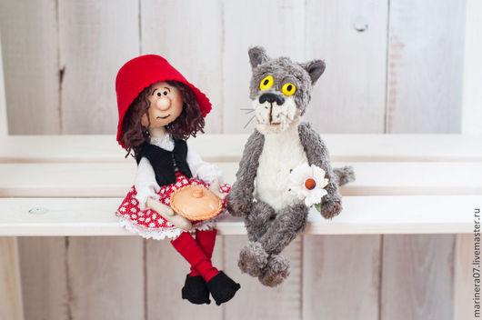 Человечки ручной работы. Ярмарка Мастеров - ручная работа. Купить Красная шапочка и серый волк. Handmade. Разноцветный, интерьерная игрушка