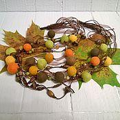 Украшения handmade. Livemaster - original item Colorful Autumn Multi-Row Felted Felted Beads Necklace Leaves. Handmade.