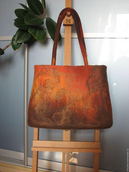 Войлочная сумка ручной работы Оранжевый закат Женская сумочка