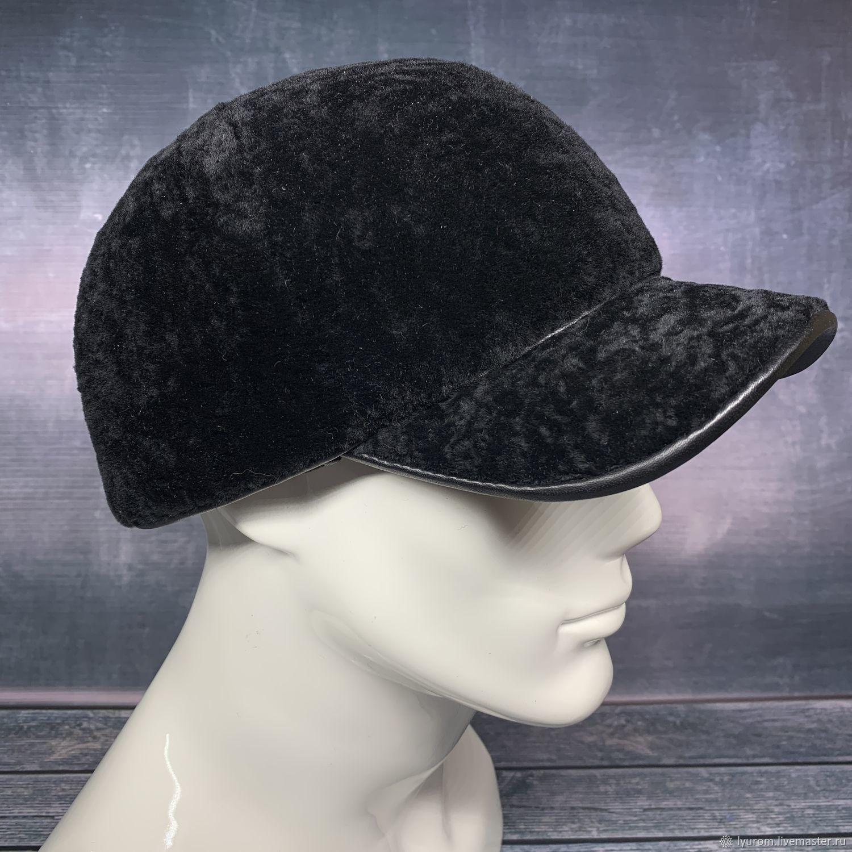 Men's black sheepskin baseball cap, Baseball caps, Moscow,  Фото №1