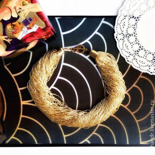Купить Альтависта - золотое многорядное бисерное колье фото, бисерные бусы ожерелье, бисерные нити,  золотой, блестящее украшение, стильное ожерелье. Магазин Украшений Лозбенева Юлия. Москва