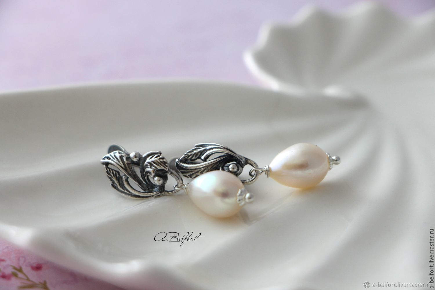 silver plated earrings with natural pearls 'the Swan Princess', Earrings, Omsk,  Фото №1