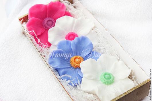 """Мыло ручной работы. Ярмарка Мастеров - ручная работа. Купить Набор мыла """"Анемоны"""". Handmade. Разноцветный, цветок анемона"""