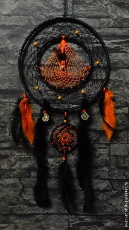 """Ловцы снов ручной работы. Ярмарка Мастеров - ручная работа. Купить Ловец снов """"Огненный Драккар"""". Handmade. Рыжий, яшма"""