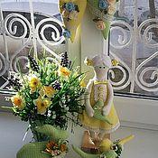 """Куклы и игрушки ручной работы. Ярмарка Мастеров - ручная работа Интерьерный набор """"Весна""""Куколка, птички, зайчик, 2 сердечка. Handmade."""