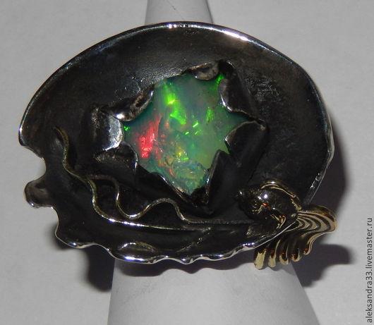 """Кольца ручной работы. Ярмарка Мастеров - ручная работа. Купить серебряное кольцо""""Золотая рыбка"""" с эфиопским опалом. Handmade. Серебряный"""