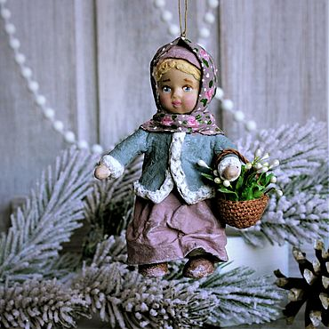 Dolls & toys handmade. Livemaster - original item Toy on the Christmas tree of cotton wool Girl with a basket of snowdrops.. Handmade.