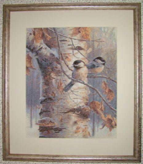 """Пейзаж ручной работы. Ярмарка Мастеров - ручная работа. Купить Вышитая картина """"Синички"""". Handmade. Ручная вышивка, птицы"""