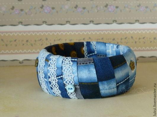 """Браслеты ручной работы. Ярмарка Мастеров - ручная работа. Купить Браслет """"Джинсовый микс"""". Handmade. Синий, джинсовый стиль, джинсы"""