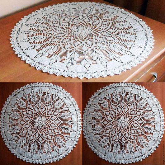 Текстиль, ковры ручной работы. Ярмарка Мастеров - ручная работа. Купить Салфетка крючком молочного цвета, 51 см. Handmade.