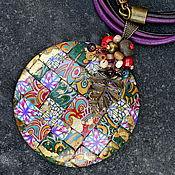 Украшения ручной работы. Ярмарка Мастеров - ручная работа кулон из полимерной глины мозаика 8 яркий. Handmade.